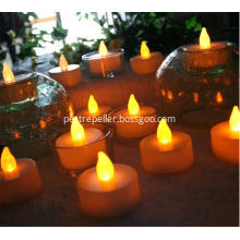 Battery Operated Amber LED Tealight Candles Flameless Heatless Flickering Wickless