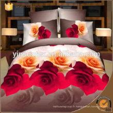 Motif rose modèle de lit en tissu imprimé 3D réversible imprimé imprimé 4pc en un lit de sac