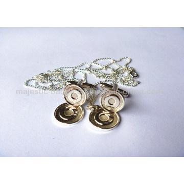Silver Plated Cufflink & Pendant (Hz 1001 P008)