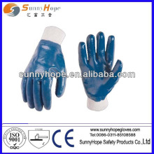 blue nitrile fully coated gloves with knit wrist
