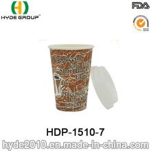 Tasse jetable de papier de café de 12oz jetable simple avec le couvercle (HDP-1510-7)