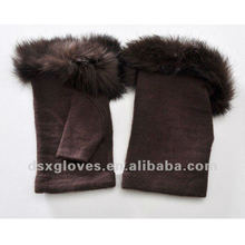 chocolate half finger cashmere gloves
