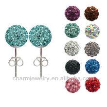 8mm Shamballa Disco Pave CZ Crystal Ball Beads Stud Earrings EC-008