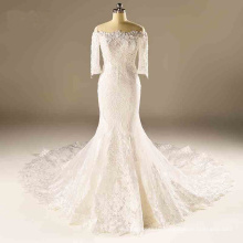 off The Shoulder Lace Beading Mermaid Bridal Wedding Dress