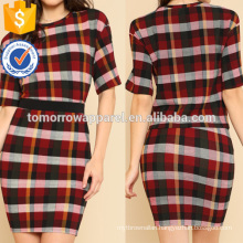 Plaid Box Tee & Skirt Manufacture Wholesale Fashion Women Apparel (TA4069SS)