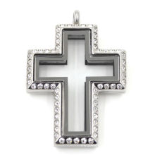 Fashion Keepsake Cross Stainless Steel Jewelry Locket Pendant
