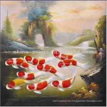 Pintura al óleo pintada a mano de los pescados para la decoración casera