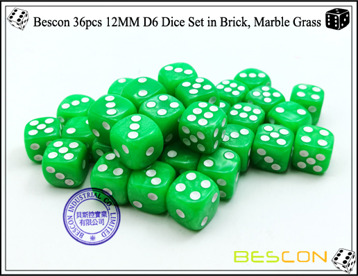Bescon 36pcs 12MM D6 Dice Set in Brick, Marble Grass-5
