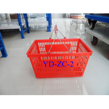 Double Metal Hands Plastic Shopping Basket (YD-B02)