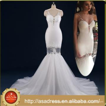 ASWY19 Real Photos Bohemian V neckline Spaghetti Strap Detachable Train Mermaid Bride wedding dress 2017