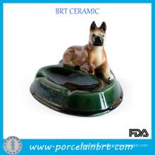 Glazed Porcelain Ashtray with Laying Dog