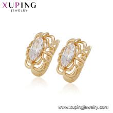 Pendiente barato de la aleación de cobre del diseñador de la calidad del zircon del color del embutido de la joyería de la señora del estilo chino 94920 para la venta
