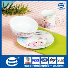cute piggy painting 3pcs baby tableware for dinner set
