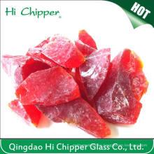 Decoración de jardín de color rojo rocas de vidrio