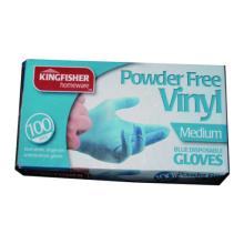 Guante de vinilo azul sin polvo de 100pk