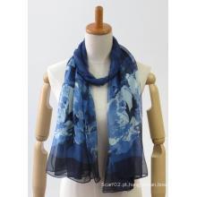 Chiffon colorido tecido fino lenço de senhoras de moda suave
