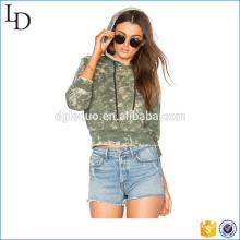 Armee grün gewaschen Distressed Hoodies Frauen Großhandel ausgestattet Sweatshirt
