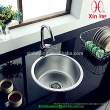 Aço inoxidável Top Mount único Round Bowl Kitchen Sink Bar Sink