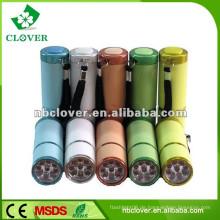 Ein / Aus-Taste Schalter Mini 9 LED Aluminium Taschenlampe mit Gurt