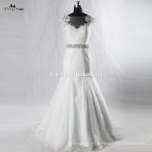 RSW928 Mangas Cap Illusion Neckline Ver a través de los vestidos de novia de encaje trasero Sirena con tren desmontable