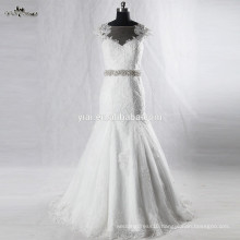 RSW928 Cap Sleeves Illusion Neckline See Through Back Lace Wedding Dresses Mermaid With Detachable Train