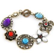 Glory Big Diamond with Colorful Stone Bracelet (XBL12940)