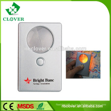 Portátil para leitor de cartão de crédito tamanho lupa com luz