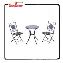 3 Stück Mosaik Bistro Set mit 2 Stühlen