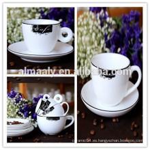 Juegos de platillo y taza de café de porcelana y cerámica