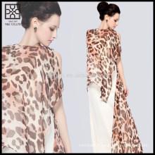 Moda leopardo seda impressa cachecol