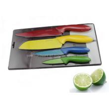 Cuchillo de cocina plástico colorido de la manija 4PCS fijado (SE-3548)