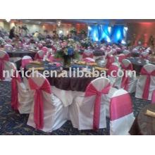 Couverture de chaise de banquet satin, couverture de chaise d'hôtel, ceinture en satin de chaise
