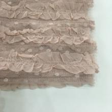 Chiffon Stripe Embroidery Fabric On Poly Dot Mesh