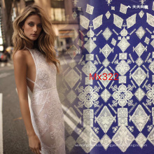 Geometric Flat Embroidery White Lace Fabric