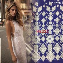 Geometric Flat Embroidery White Lace Fabric