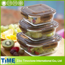 Almoço de vidro empilhável para geladeira e servindo (15040101)