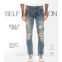 2017 Best selling design custom torn jeans pants denim damaged jeans for men