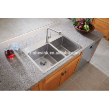 US-amerikanische cUPC Drop-in Doppel Schüssel Edelstahl Topmount handgemachte Küche Waschbecken mit Hahn Löcher