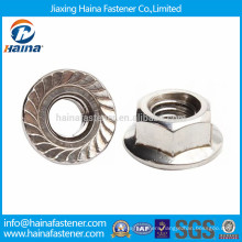 Stainless steel 304 serrated hex flange nut