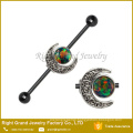 Surgical Steel Black Plated Opal Jeweled Moon Industrial Barbell Earring