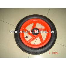 """Roda pneumática de 12x2 """"(jante de plástico com pneu de borracha)"""