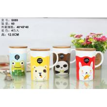 Animal Pattern Ceramic Mug with Wood Lid