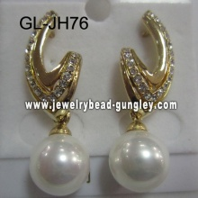 golden color shell pearl earrings for female