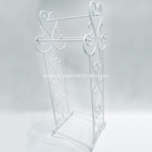 Metal Scroll White Towel Rack