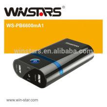 Bateria do banco de energia de 6600mAh com carga dupla e função da tocha LED Função