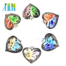 Colgantes de cristal de Murano de la flor del corazón 3D negro para la decoración 12pcs / box, MC0058