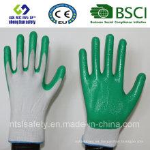 13G poliéster Shell con guantes de trabajo revestidos de nitrilo (SL-N107)