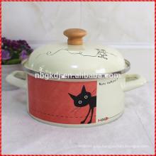 cartoon enamel strait pot with enamel lids popular by family