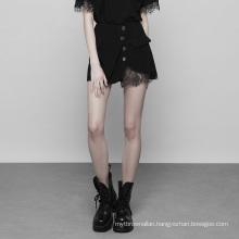 OPQ-356 PUNK RAVE Black Casual Skirt Denim Skirt PUNK STYLE Trumpet / Mermaid Handsome a Line Lace Women Adults Mini Plus Size