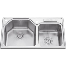 L5708 Stainless Steel Welding Double Bowl Sink